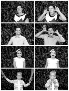 Montage photo en noir et blanc de portraits d'une famille avec des portraits sérieux et d'autres humoristiques