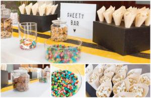 Montage de plusieurs photos d'un candy bar coloré