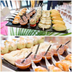 Photo d'un plateau cocktail lors d'un événement. Les couleurs sont vies et le plateau est appétissant